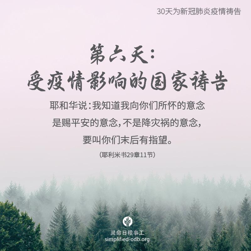 我们在天上的父,惟有祢是赐平安的主。除了中国之外,目前全球有超过20个国家受新冠肺炎疫情所影响,各地人心惶惶。我们求祢的怜悯和医治临到这些地方,在病患和家属软弱之时,赐他们力量;在病患和家属恐惧之时,赐他们平安。愿人们在肆虐的疫情面前,认真思考生命的意义,进而经历上帝奇妙的引导和改变。奉主耶稣基督的圣名祈求,阿们。
